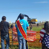 Standing Rock Sioux Tribe and their allies protest construction of the Dakota Access Pipeline. (Photo: Waniya Locke)