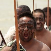 "A Maori warrior chants at a Haka during a Waitangi Day celebration, February 6, 2009, in Waitangi, New Zealand. The Maori are one of many groups that have struggled against the violent effects of colonization on their languages. (Photo: <a href=""http://www.shutterstock.com/gallery-73509p1.html?cr=00&pl=edit-00"" target=""_blank"">Patricia Hofmeester / Shutterstock.com</a>)"